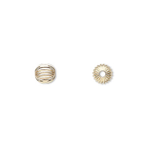 bead, 14kt gold, 6mm corrugated round. sold individually.