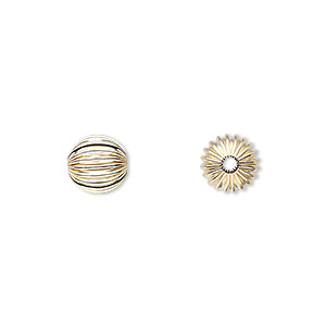 bead, 14kt gold, 8mm corrugated round. sold per pkg of 6.