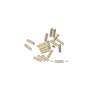 bead, 14kt gold-filled, 4x1mm liquid round tube with 0.4mm hole. sold per pkg of 20.