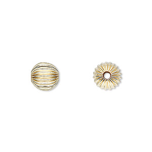 bead, 14kt gold-filled, 8mm corrugated round. sold per pkg of 20.