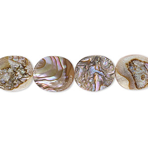 bead, abalone shell and resin (assembled), 12x10mm oval. sold per 16-inch strand.