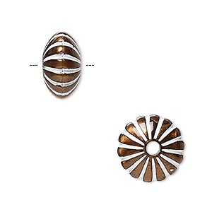 bead, acrylic and enamel, bronze and white, 14x8mm corrugated rondelle with 2.5mm hole. sold per pkg of 50.