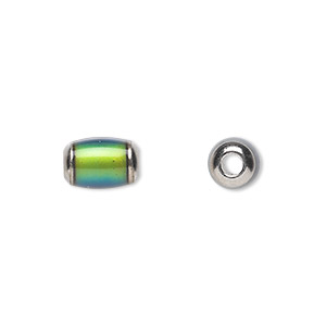 bead, acrylic and imitation rhodium-plated brass, multicolored, 10x8mm color-changing barrel with 2.5mm hole. sold per pkg of 6.
