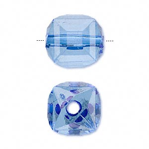 bead, acrylic, blue, 17x15mm faceted cube. sold per 100-gram pkg, approximately 30 beads.