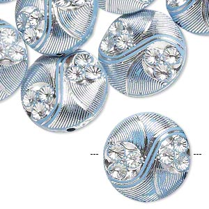 bead, acrylic, blue and silver, 19mm double-sided puffed flat round with line and circle design, 2mm hole. sold per pkg of 24.