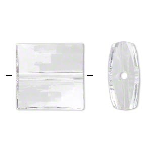 bead, acrylic, clear, 19x19mm faceted puffed square with 2mm hole. sold per 100-gram pkg, approximately 25 beads.