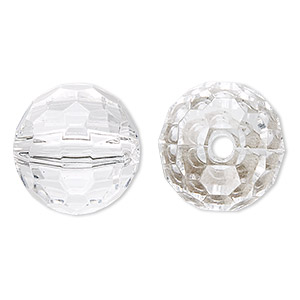 bead, acrylic, clear, 20mm faceted round. sold per 100-gram pkg, approximately 20 beads.