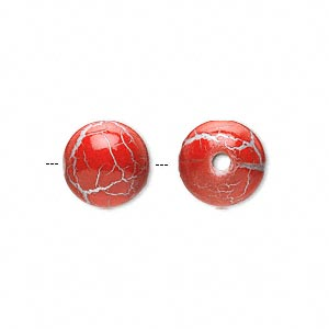 bead, acrylic, crackled red and silver, 12mm round. sold per pkg of 100.