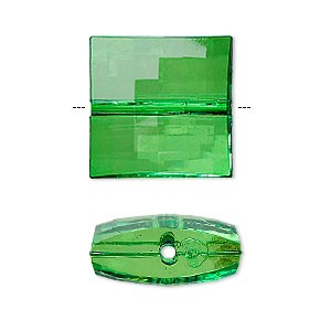bead, acrylic, green, 19x19mm faceted puffed square. sold per 100-gram pkg, approximately 25 beads.