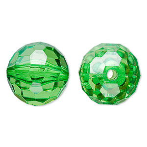 bead, acrylic, green, 20mm faceted round. sold per 100-gram pkg, approximately 20 beads.