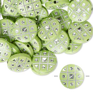 bead, acrylic, green and silver, 18mm double-sided flat round with tic-tac-toe design, 2mm hole. sold per pkg of 50.