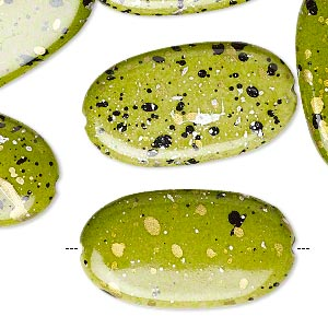 bead, acrylic, green with gold/silver/black speckles, 29x16mm flat oval. sold per pkg of 70.