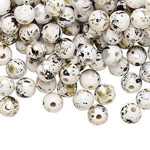 bead, acrylic, light grey with gold/silver/black speckles, 6mm round. sold per pkg of 800.