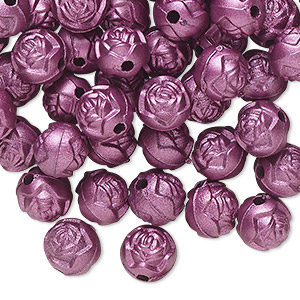 bead, acrylic, light purple, 8mm round rose with 1.5mm hole. sold per pkg of 100.