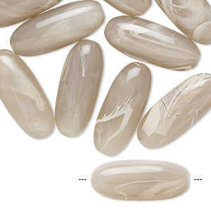 bead, acrylic, marbled mauve and white, 22x9mm oval. sold per pkg of 24.