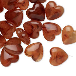 bead, acrylic, marbled orange / red / honey, 12x12mm puffed heart. sold per pkg of 24.