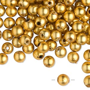 bead, acrylic, matte metallic gold, 6mm round. sold per 100-gram pkg, approximately 750-950 beads.