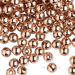 bead, acrylic, metallic copper, 6mm round. sold per 100-gram pkg, approximately 750-950 beads.