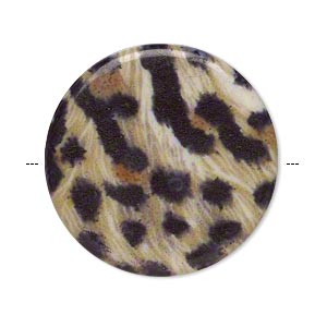 bead, acrylic, multicolored, 32mm double-sided flat round with leopard pattern and 1.75mm hole. sold per pkg of 6.