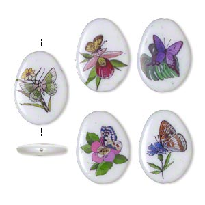 bead, acrylic, multicolored, 40x29mm double-sided irregular flat oval with butterfly design and 1.75mm hole. sold per pkg of 5.
