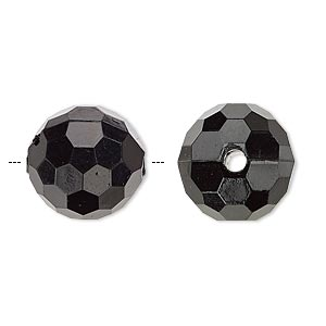 bead, acrylic, opaque black, 15mm faceted round. sold per 100-gram pkg, approximately 50 beads.