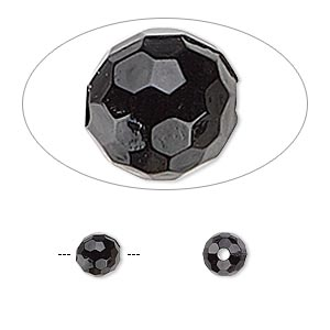 bead, acrylic, opaque black, 6mm faceted round. sold per 100-gram pkg, approximately 750 beads.