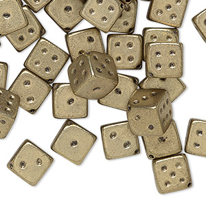 bead, acrylic, opaque metallic gold, 7.5mm dice. sold per pkg of 50.