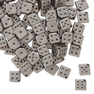 bead, acrylic, opaque metallic silver, 5mm dice. sold per pkg of 100.