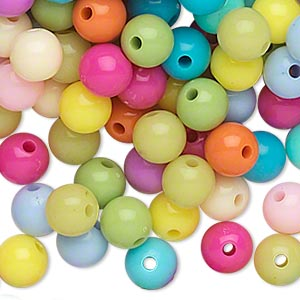 bead, acrylic, opaque spring colors, 8mm round. sold per pkg of 504.