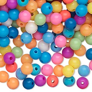 bead, acrylic, opaque summer colors, 6mm round. sold per pkg of 1,116.