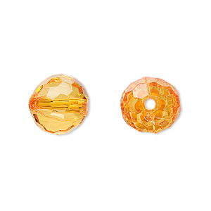 bead, acrylic, orange, 12mm faceted round. sold per 100-gram pkg, approximately 100 beads.