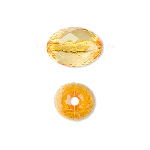 bead, acrylic, orange, 16x11mm faceted oval. sold per 100-gram pkg, approximately 80 beads.