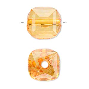 bead, acrylic, orange, 17x15mm faceted cube. sold per 100-gram pkg, approximately 30 beads.