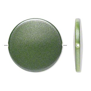 bead, acrylic, pearlized emerald green, 41mm flat round. sold per pkg of 14.
