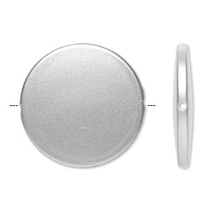 bead, acrylic, pearlized silver, 41mm flat round. sold per pkg of 14.