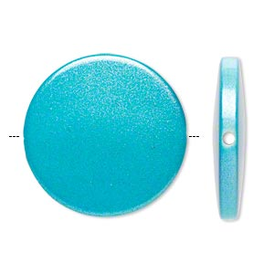 bead, acrylic, pearlized turquoise blue, 32mm flat round. sold per pkg of 20.