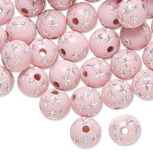 bead, acrylic, pink and silver, 8mm round with stars, 1.75mm hole. sold per pkg of 100.