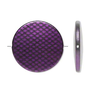 bead, acrylic, purple and black, 41mm flat round with snakeskin design. sold per pkg of 10.