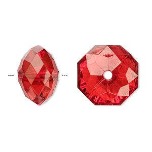 bead, acrylic, red, 18x13mm faceted rondelle. sold per 100-gram pkg, approximately 40 beads.