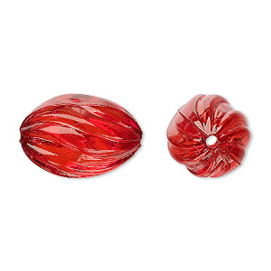 bead, acrylic, red, 20x13mm fluted oval. sold per 100-gram pkg, approximately 50 beads.