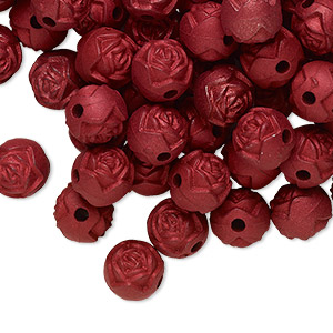 bead, acrylic, red, 8mm round rose with 1.5mm hole. sold per pkg of 100.