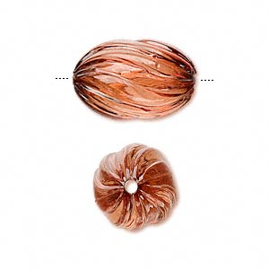 bead, acrylic, rust, 20x13mm fluted oval. sold per 100-gram pkg, approximately 50 beads.