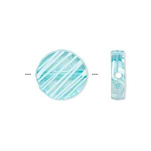 bead, acrylic, semitransparent blue and white, 15mm flat round with painted line design. sold per pkg of 140.