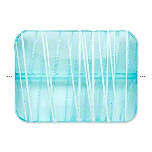 bead, acrylic, semitransparent blue and white, 40x30mm puffed rectangle with painted line design. sold per pkg of 12.
