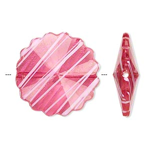 bead, acrylic, semitransparent fuchsia and white, 25mm faceted round flower with painted line design. sold per pkg of 48.