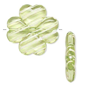 bead, acrylic, semitransparent green and white, 27x26mm 4-leaf clover with painted line design. sold per pkg of 32.