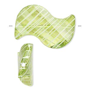 bead, acrylic, semitransparent green and white, 35x23mm s-shape with painted line design. sold per pkg of 24.