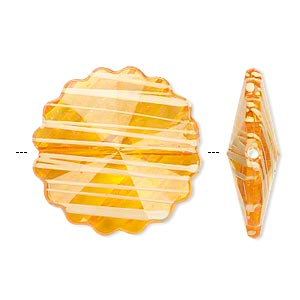 bead, acrylic, semitransparent orange and white, 25mm faceted round flower with painted line design. sold per pkg of 48.