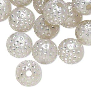 bead, acrylic, silver, 10mm round with dots, 2mm hole. sold per pkg of 100.