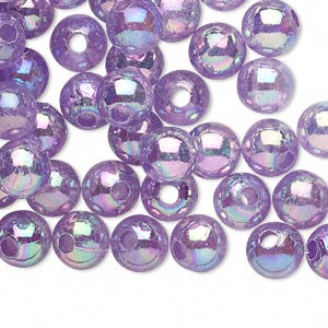 bead, acrylic, translucent violet ab, 8mm round with 2.4-2.5mm hole. sold per 200-gram pkg, approximately 800-900 beads.